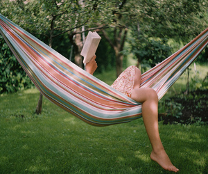book, hammock, and read image