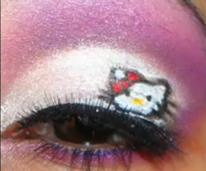 makeup, hello kitty, and eyes image
