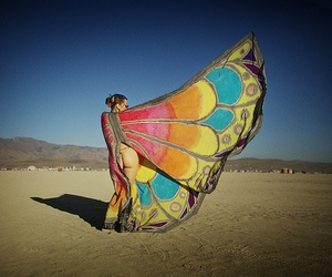 Burning Man, butterfly, and woman image