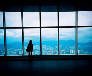 girl, blue, and city image