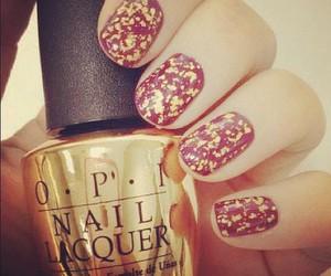 nails, gold, and opi image
