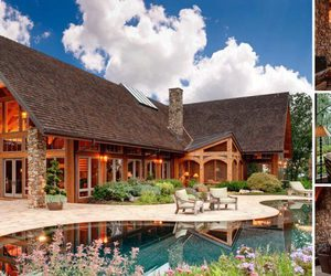 chalet, pool, and wooden villa image