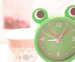 cute, clock, and frog image