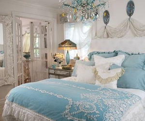 bedroom, blue, and shabby chic image