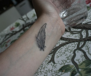 black and white, feather, and tattoo image