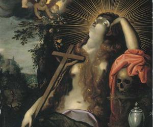art, crucifix, and skull image