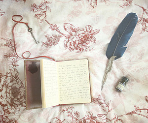 book, vintage, and feather image