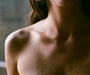 beautiful, brunette, and collarbone image