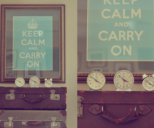 keep calm, blue, and clocks image