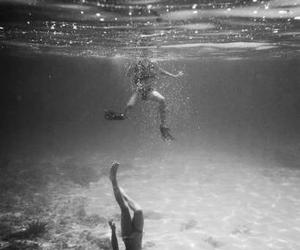 black and white, sea, and couple image