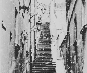 snow, winter, and stairs image