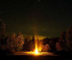 fire, stars, and night image