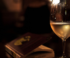 wine, book, and drink image