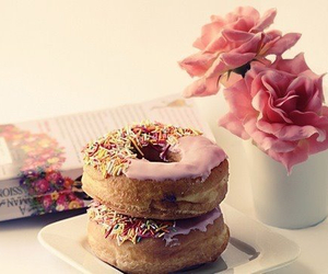 donuts, pink, and flowers image