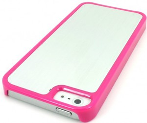 cell phone, metal, and pink image