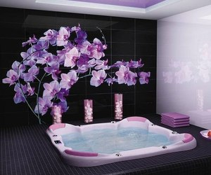 bathroom, flowers, and purple image