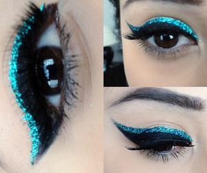 make up and blue eyeliner image