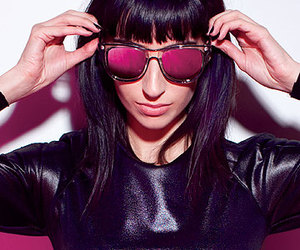 black hair, glasses, and pink image