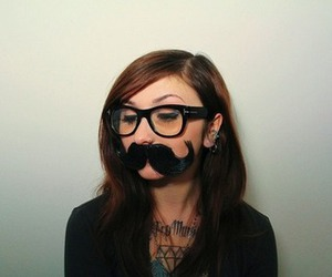mustache, girl, and glasses image