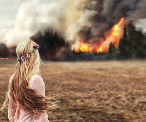 girl, fire, and hair image