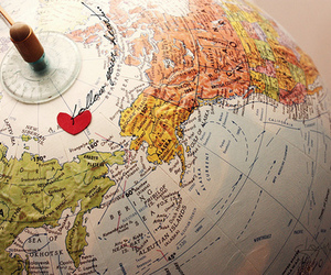 world, heart, and travel image