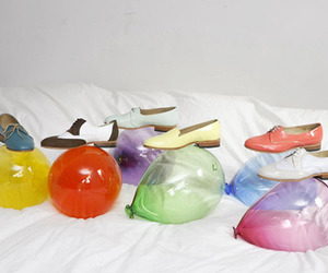 baloons, shoes, and bed image