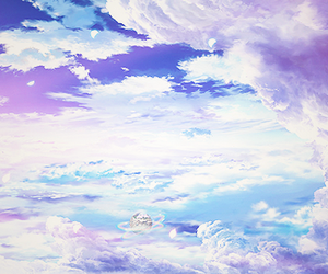 sky, anime, and clouds image