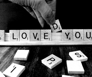 love, loved, and scrabble image