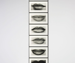 black and white, lips, and art image
