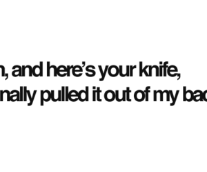 knife, text, and back image