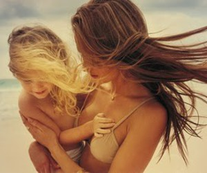beach, daughter, and hair image