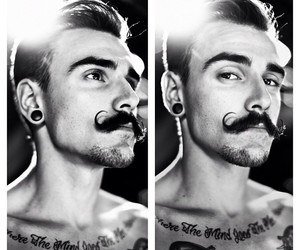 alternative, moustache, and Tattoos image