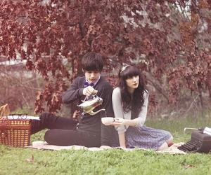 couple, picnic, and tea time image