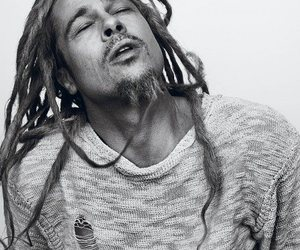 brad pitt, black and white, and dreadlocks image