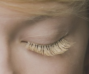 blonde, lashes, and gold image