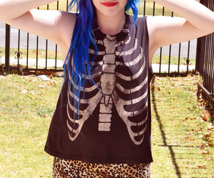 girl and blue hair image