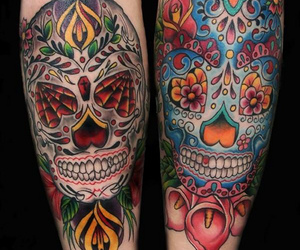 black and grey, blue, and day of the dead image