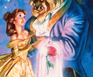 beast, rose, and beauty and the beast image