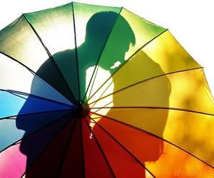 love, kiss, and umbrella image