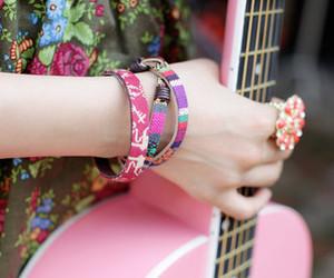 guitar, pink, and bracelet image