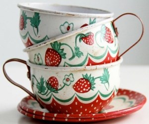 cup, strawberry, and vintage image