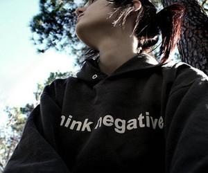 girl, negative, and tree image