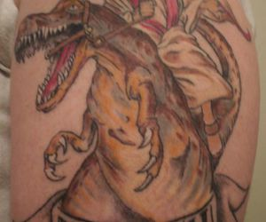 dinosaur, tattoo, and epic image