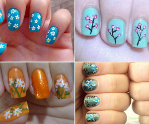 floral print, flowers, and nail image