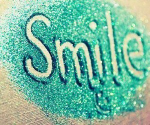 smile, glitter, and blue image