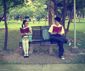 reading, cute, and bench image