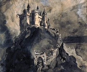 castle, drawing, and gloomy image