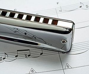 harmonica, instrument, and music image