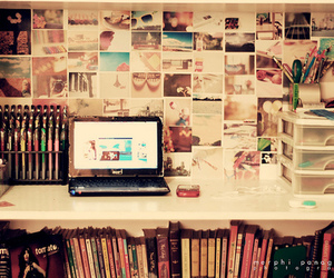 books, laptop, and notebook image