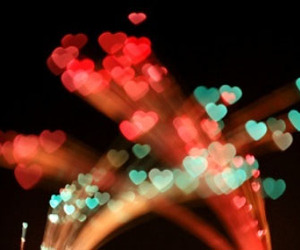 light, hearts, and night image